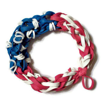 American Flag Glow In the Dark Bracelet for 4th of July - Red White and Blue Rubber Band Bracelet - Glowing Stars and Stripes