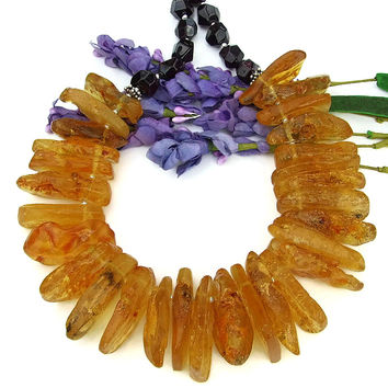 Amber Garnet Bib Necklace, Chunky Boho Handmade Jewelry Golden Red