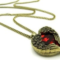 Amazon.com: DaisyJewel Vintage Red Heart Love Pendant: Top Seller Mega Clearance Sale Ruby Red & Bronze Victorian Romance Vintage Angel Wings Heart Necklace - Show the Romantic Side of Steampunk: Jewelry