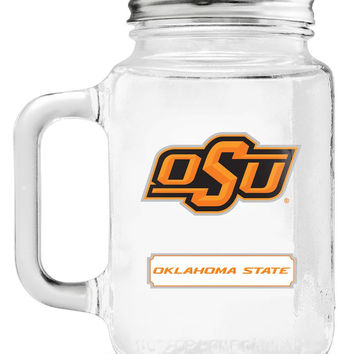 Oklahoma State Cowboys Mason Jar Glass With Lid