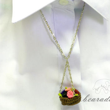 miniature flower basket charm necklace with 20 inch chain necklace