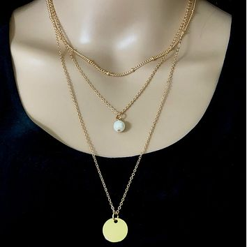 Gold Layered Pearl Drop and Disc Necklace