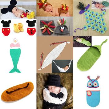 Retail Crochet Baby Cocoon Costume Set Newborn Photography Props Handmade Toddler Clothes for Shoot SG045