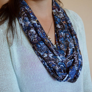 Blue floral design soft infinity scarf, summer scarf, women's scarf, loop scarf, scarves, women's accessories, long infinity scarves