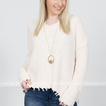Chenille Cream Frayed Sweater