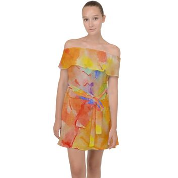 Orange Red Yellow Watercolors Texture Off Shoulder Chiffon Dress