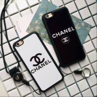 CHANEL print phone shell phone case for Iphone 4/4s/5/5s/6/6s/6p/7p/7/8/8p/x