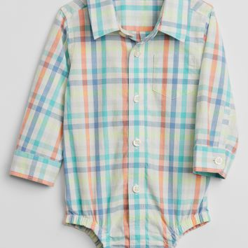 Plaid Poplin Bodysuit|gap
