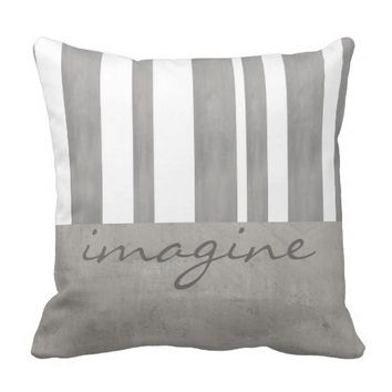 quote pillow gray and white stripes