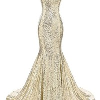 Gardlilac Sequin Mermaid Long Prom Dress Sleeveless V-neck formal party Dress sexy evening Gowns