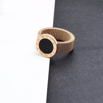 New arrivals  Rose Gold color Titanium Steel  Roman Numerals  woven mesh cheap ring,Drop shipping