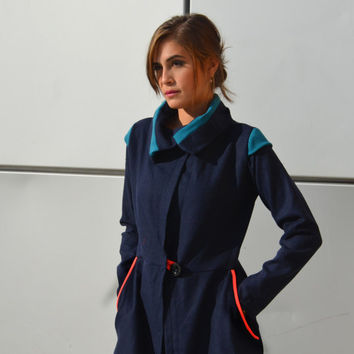 Blue geomatical coat