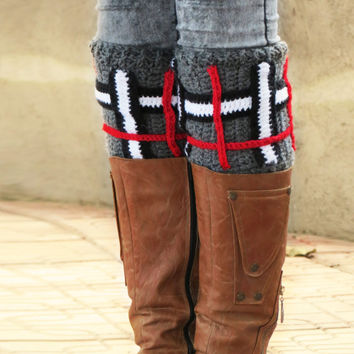 2015 Trend Plaid Print Boot Cuffs, Blanket Pattern Cuffs Gray, Square Stripe Leg Warmers, Women's Boot Cuffs Grey, Crochet Boot Toppers
