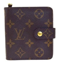 Auth LOUIS VUITTON Compact Zip Bifold Wallet Monogram Leather M61667 09EC316
