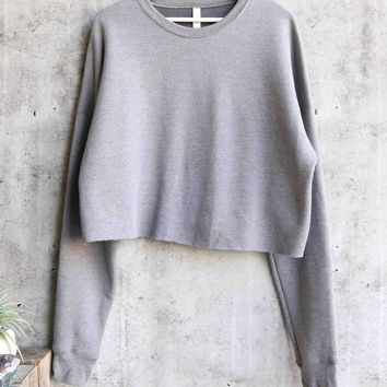 distracted - women's cropped crew fleece sweater - heather grey
