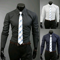 Slim Fit Long Sleeve Collared Shirt