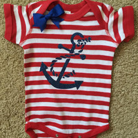 Anchor Onesuit - Striped Onesuit - Girls Onesuit -  Body Suit - Glitter  - Onesuit - Ruffles with Love - Baby Clothing - RWL Kids