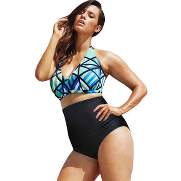 New Arrival Summer Hot Swimsuit Sexy Beach Stylish Print High Rise Plus Size Swimwear Bikini [6033457473]
