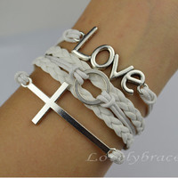 Love holy cross magic silver rings bracelets, karma personality charm bracelet - the best gift of friendship