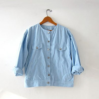 vintage washed out jean shirt. light wash chambray shirt. light weight jean jacket