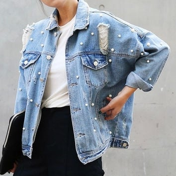 South Korea Loose Pin Hole bead pearl Jeans Studded hole out ripped fashion trends elegant women denim default SPSR ship jacket