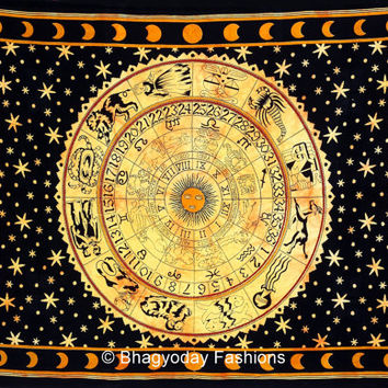 ASTROLOGY Horoscope Zodiac Hippie Hippy Indian Tapestry Wall Hanging Throw Cotton Bohemian Bed Decor Bed Spread Ethnic Decorative Art