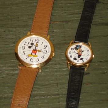 Lot Of 2 Vintage Mickey Mouse Disney Watches  by aprimitiveplace