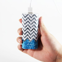 Vibrant Glitter Chevron  Portable Power Bank Charger for iPhone and Samsung