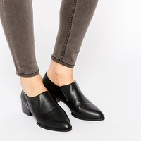 Daisy Street Black Loafer Mid Heel Chelsea Shoes