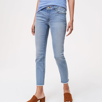 Curvy Frayed Skinny Crop Jeans in Authentic Light Indigo Wash | LOFT