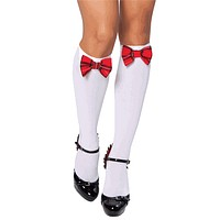 Sexy Plaid Bow School Girl Knee High Socks Halloween Accessory