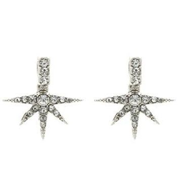 Double Sided Starburst Ear Jacket Pave Crystal Stone Earrings