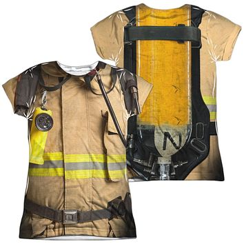Firefighter Halloween Costume Juniors T-shirt Front & Back