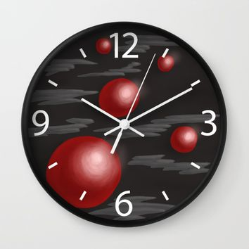 Shiny Red Planets Wall Clock by Boriana Giormova