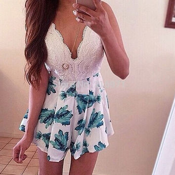 Culotte Summer Casual Floral Print Womens Jumpsuit White Sexy Deep V-neck Strap Playsuit Rompers Fashion Women pantskirt