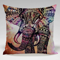 elephant aztec in  galaxy Square Pillow Case Custom Zippered Pillow Case one side and two side