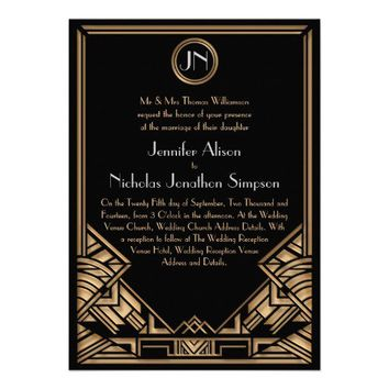 Black Gold Art Deco Gatsby Style Wedding Invites from Zazzle.com