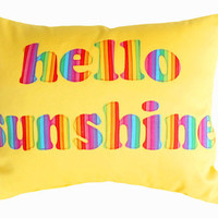 HELLO SUNSHINE Pillow  Text in Yellow and by PillowThrowDecor