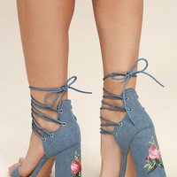 Darcia Denim Lace-Up Heels