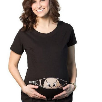 Pocket Baby Pee a Boo Print Women T shirts Maternity tShirt Cotton Funny Maternity Shirts Gravida Top Pregnancy Clothing WUA