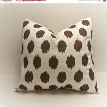 ChristmasinJulySALE Italian Chocolate and cream ikat JoJo polka dot with slub linen like finish