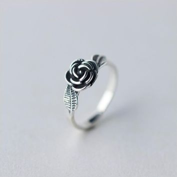 171206   925 Silver Silver Retro Sweet Rose Ring J1158