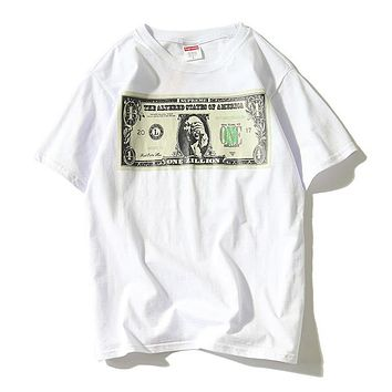 Supreme Woman Men Fashion Dollar Short Sleeve Tunic Shirt Top Blouse