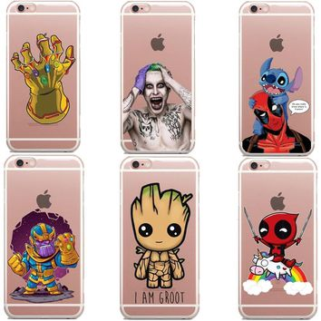 Deadpool Dead pool Taco Phone Case Avengers Infinity War Thanos DC  Superhero Joker  Clear Soft Cover for iPhone 6 6S 7 8 Plus 5S SE X AT_70_6