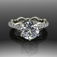 Unique Modern Design Forever Brilliant Moissanite Engagement Ring 3.00 CTW