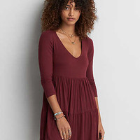 AEO Tiered Babydoll Dress, Burgundy