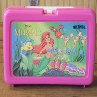 FREE SHIPPING - The Little Mermaid Lunch Box/Vintage Lunch Box/Vintage Disney Lunch Box/The Little Mermaid/Vintage Thermos Lunch Box