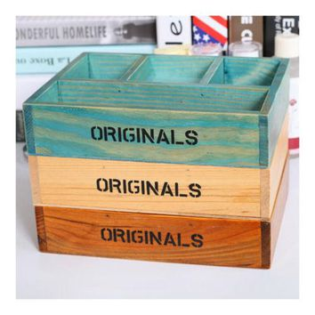 Mini Wood Table Storage Box Comestics Succulent Plant