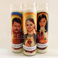 Prayer Candles, Parks and Rec set, Pop Culture, Kitsch, Religious Humor, Celebrity Saint
