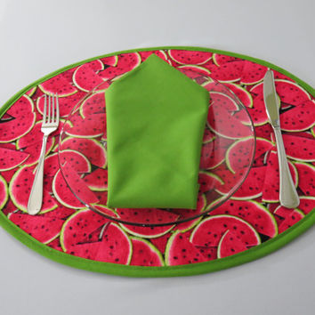 Pair of Placemats, Watermelon Print , Oval,  Bright Green Trim, 100% Cotton, Set of 2